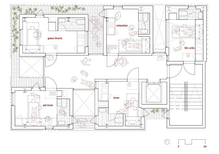 sampe ndesain layout ruang yang berbeda-beda, berdasar karakter pengguna. haha..  Songpa Micro Housing / SsD