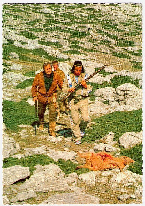 Pierre Brice, Walter Barnes and Götz George in Unter Geiern. German postcard, no. 2 (1-64). Photo: Constantin. Publicity still for <em>Unter Geiern/Among Vultures</em> (Alfred Vohrer, 1964) with Pierre Brice as Winnetou.