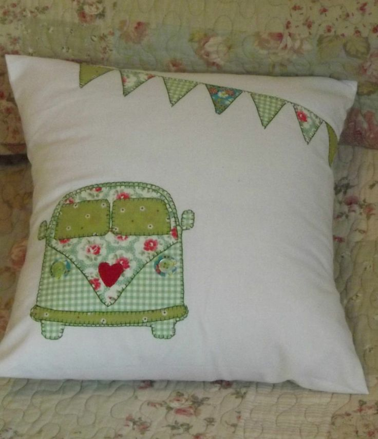 "Home Made 12"" Camper Van Cushion Cover + Pad Vintage Retro Cath Kidston Fabric"