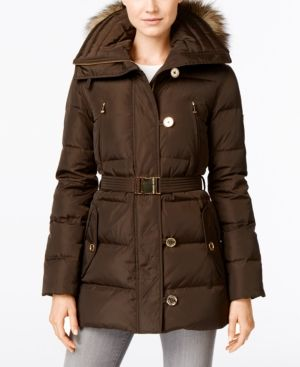 Michael Michael Kors Faux-Fur-Trim Belted Down Puffer Coat - Brown XL