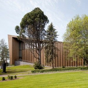 """MX_SI's+addition+to+the+Serlachius+Museum+Gösta++has+a+stripy+facade+based+on+an+""""abstract+forest"""""""