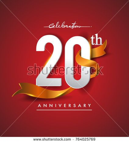 20th anniversary logotype with golden ribbon isolated on red elegance background, vector design for birthday celebration, greeting card and invitation card.