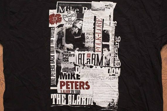 Mike Peters T-Shirt, 1995 Concert Tour Tee, 2-Sided, Vintage 90s, The Poets, The Alarm, Back Into the System, Screen Stars, Rock & Roll Music