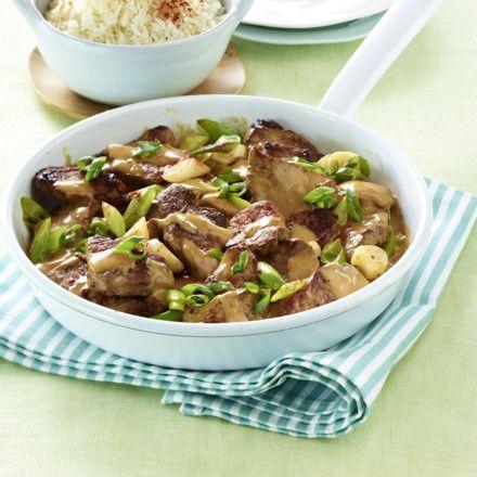 Geschnetzeltes vom Schweinefilet mit Reis Rezept | LECKER
