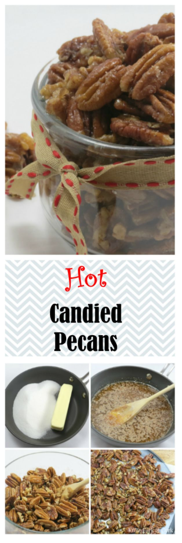 Delicious, addictive hot candied pecan nuts. Perfectly seasoned with cinnamon, cayenne and sugar. Perfect for a party appetizer or holiday gift giving. Easy to follow photo tutorial. Recipe is ready in 30 minutes or less. @knifeforkcork