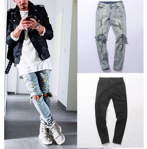 Günstige UNS größe Distressed Dünne Zerrissene Jeans Mens Big Loch Auf Knie Schwarz Und Blau Swag Streetwear Kleidung Zerstören Denim Hosen Kanye, Kaufe Qualität Jeans direkt vom China-Lieferanten: