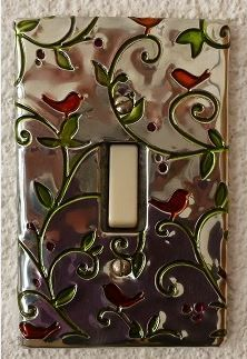 Glass paint on pewter light switch cover.  Made by Caroline @ Pewter Concepts