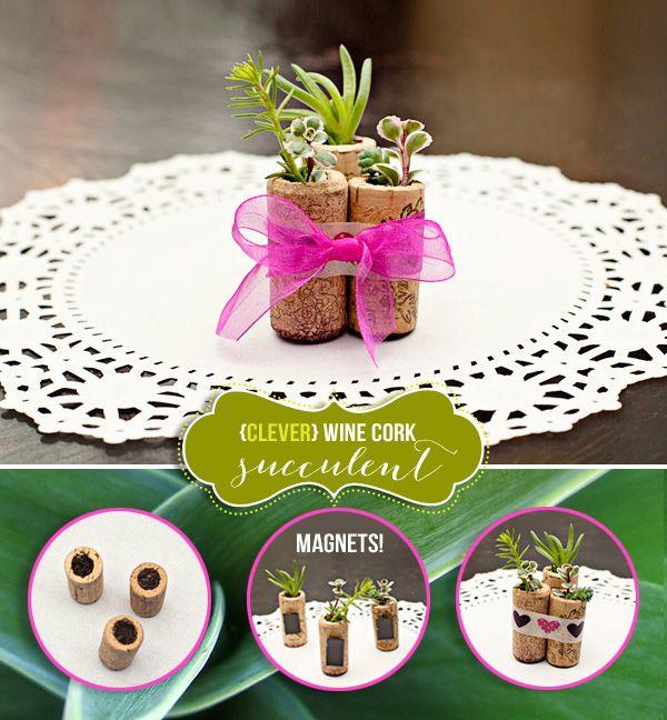 DIY Tutorial: Wine Cork Succulent Magnets {Gift Idea}