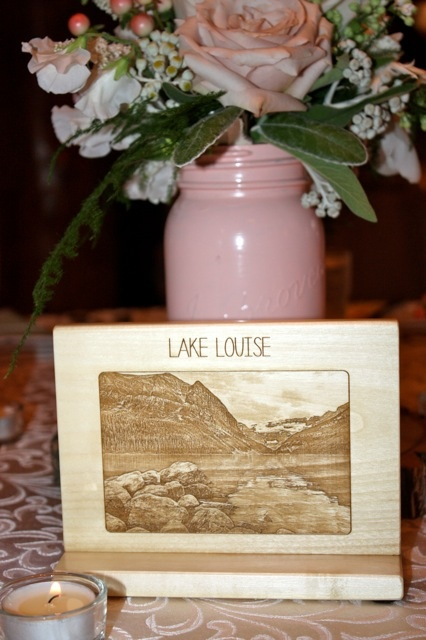 Engraved wood table markers by Naturally Chic. We used local mountains and lakes for the table names. #wedding #woodtablenumber