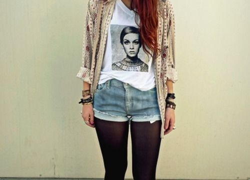 TwiggyFashion, Graphics Tees, Style, Clothing, Outfit, Jeans Shorts, Black Tights, T Shirts, Denim Shorts