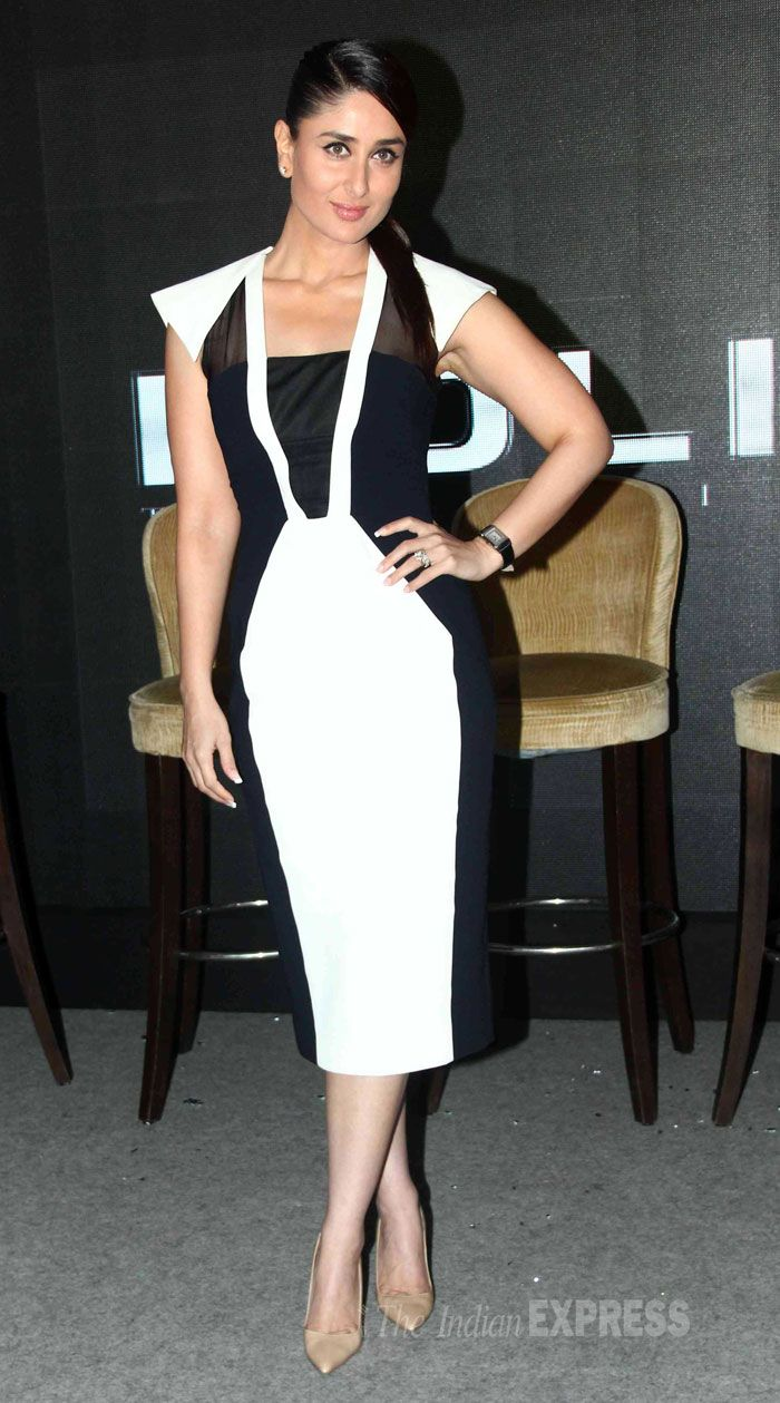 Kareena Kapoor chose a monochrome dress by designer Bibhu Mohapatra at the launch of Singham time wear collection by the brand Police in Mumbai.