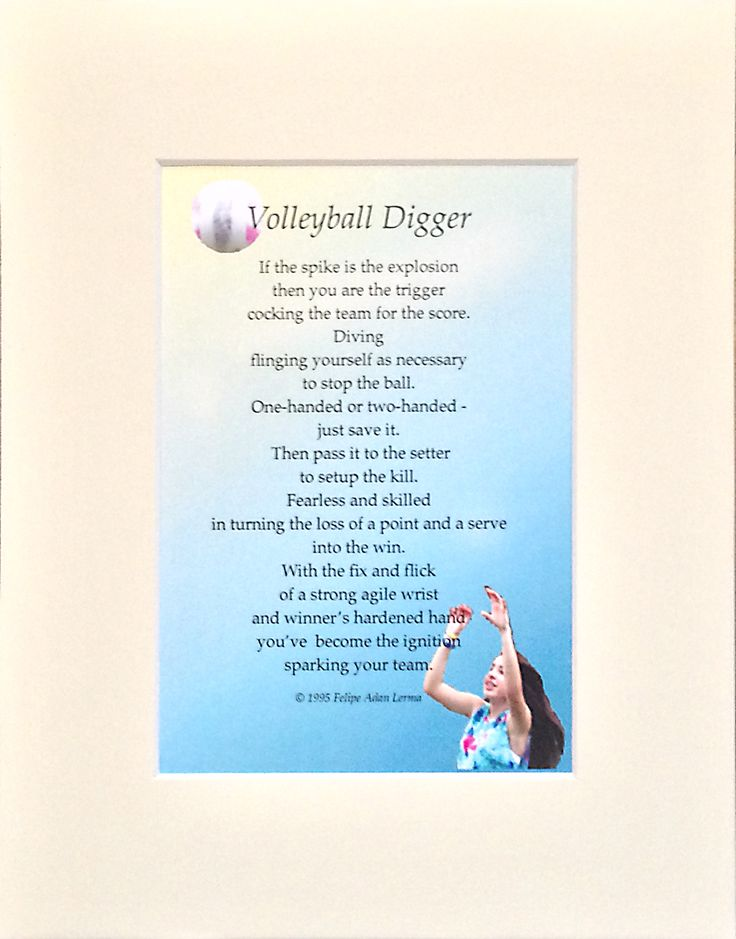 "Original volleyball sports poetry, one of seven, available in 8x10 matted mounted gift format.  Also available in ""101 Sports Poems"" collection via Audiobook, eBook, and paperback."