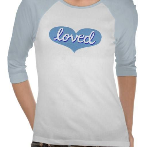 3/4 length t-shirt blue heart design Available in a range of styles, sizes and designs