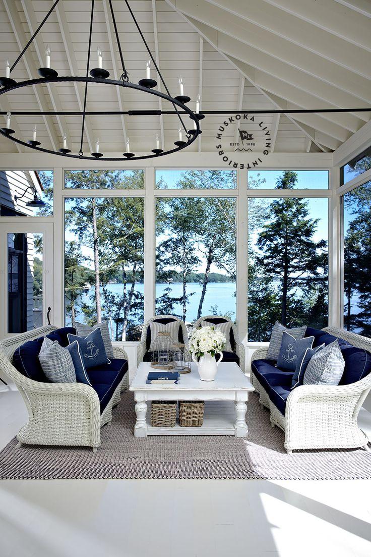 Beautiful Nautical White And Blue Living Room / Sunroom With White Wicker By Muskoka  Living. Amazing Design
