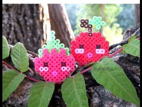 Manualidades: FRUTAS KAWAII 3D de perler beads (hama beads) | FRUITS #hamabeads #perlerbeads