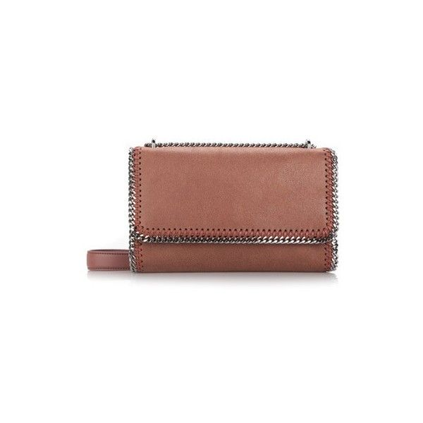 STELLA MC CARTNEY 'Falabella' Brown Crossbody Bag (2,545 ILS) ❤ liked on Polyvore featuring bags, handbags, shoulder bags, brown, faux leather purses, brown shoulder bag, leather cross body purse, leather crossbody purse and leather handbags
