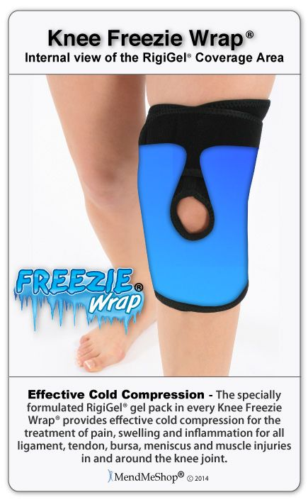 Knee Freezie Wrap - the unique non-migrating gel and ability to properly adjust compression are two key factors for its success. #kneefreeziewrap