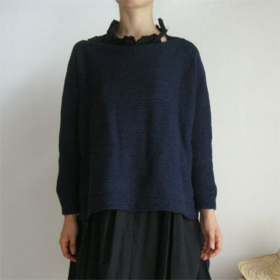 Daniela Gregis, blue hand-knitted boatneck sweater
