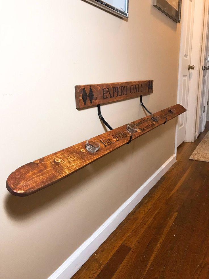 Ski Board for Shots Holder, Rustic Ski Holder, Rustic Bar