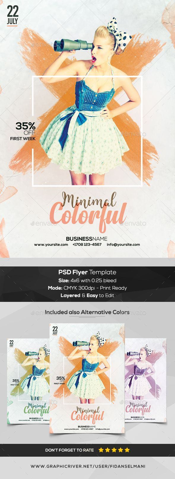 Colorful Minimal - PSD #Flyer Template - Flyers Print Templates Download here:  https://graphicriver.net/item/colorful-minimal-psd-flyer-template/20288239?ref=alena994