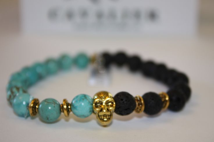 Cavalier 18kt Gold Plated Skull 1/2 Tourquoise/Lava By www.mycavalier.co
