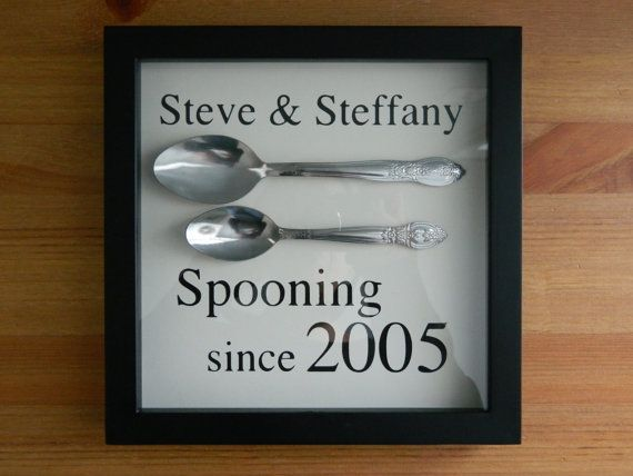 "Wall Hanging ""Spooning Since"" ~ Any Year ~ Personalized w/ names~ 8"" x 10"" black shadowbox frame on Etsy, $28.00"