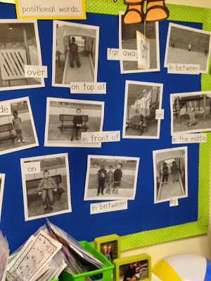 Positional Words on the Playground. Take photos of your students, add a positional word and make a bulletin board. (Chalk Talk: A Kindergarten Blog)