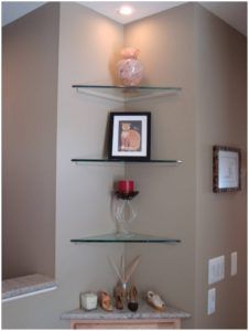 Glass Corner Shelves Wall Mount