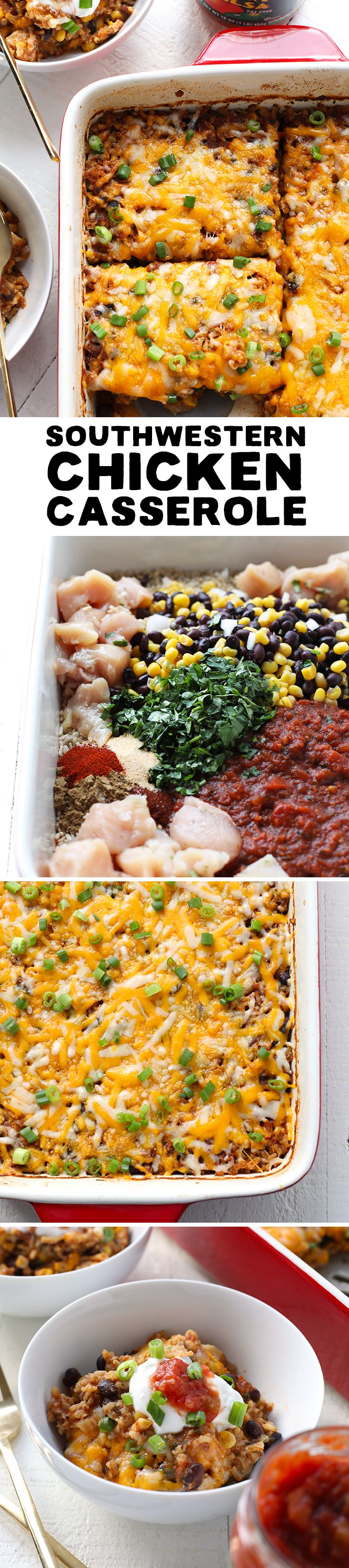 This Southwestern Chicken Casserole calls for extremely simple ingredients and doesn't take much work to make. Best part…it's full of flavor!