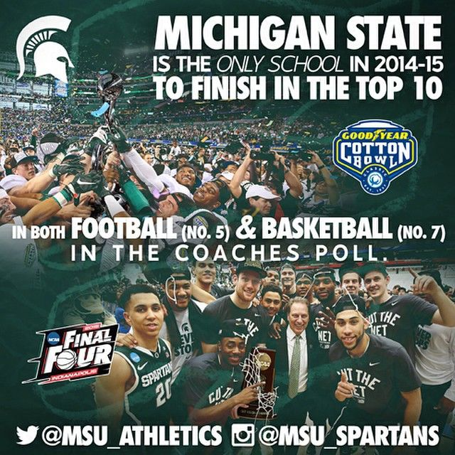 Michigan State Spartans @msu_spartans It's been another banner year for the football and men's basketball programs at Michigan State