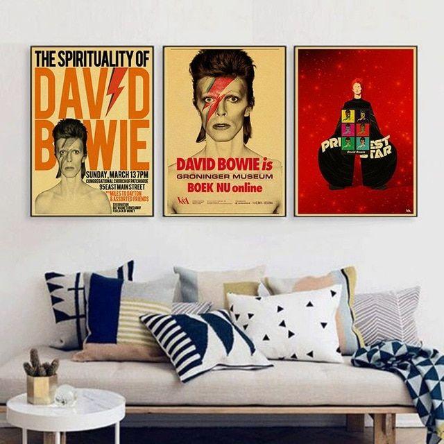 Vintage Home Decoration David Bowie Rock Music Poster Comic Retro Kraft Paper Sticker Printed Draw Wall Hanging Pic Music Poster Vintage House Hanging Pictures