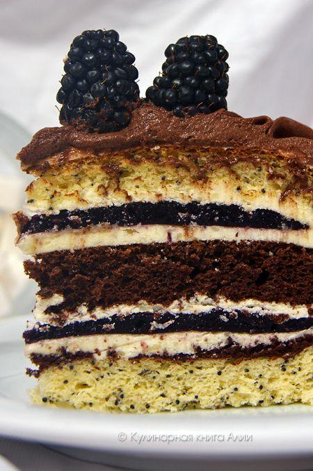 """Кулинарная книга Алии: 590. Торт """"Орбита"""" с ежевикой"""