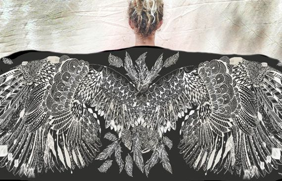 Wing scarf, bird feather scarf, cashmere and modal soft light wrap, Boho chic festival fashion, Great Mothers Day gift or festival fashion