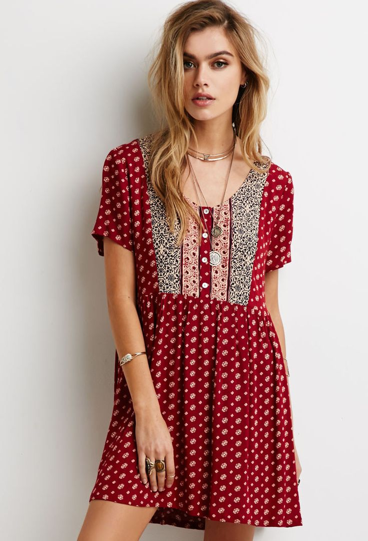 Abstract Floral Print Babydoll Dress   Forever 21 - 2000097869
