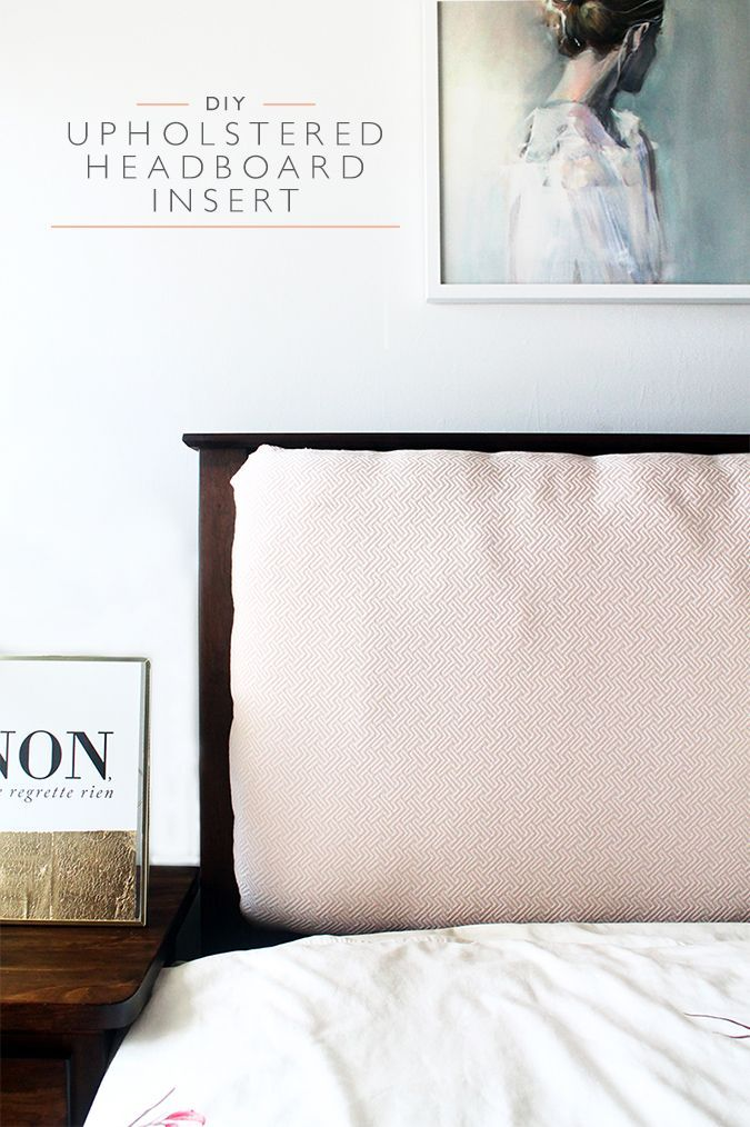 Learn how to create an upholstered mission style headboard insert! This panel can be easily removed or changed without damaging the original headboard.