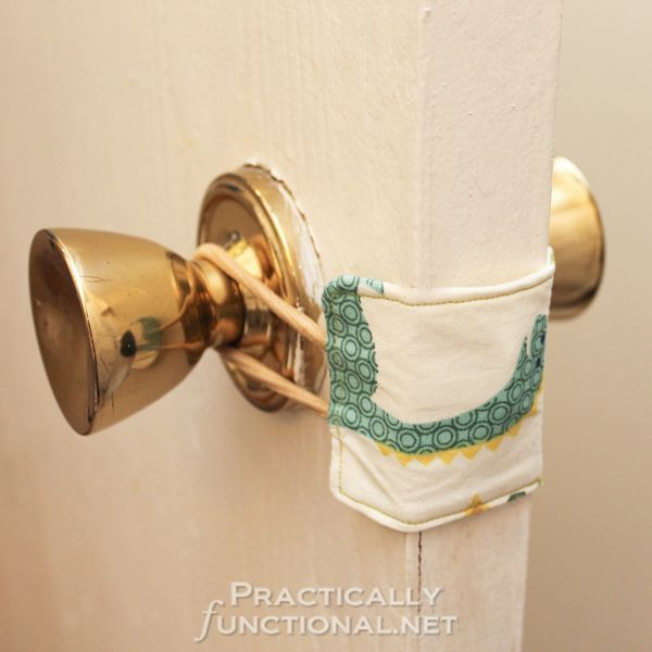 A door latch cover (or two!)  Babies are notoriously light sleepers, so make sure you don't wake them up when you peek in on them with these door lacy covers.  Just slip the elastics over each doorknob and the door will shut silently!