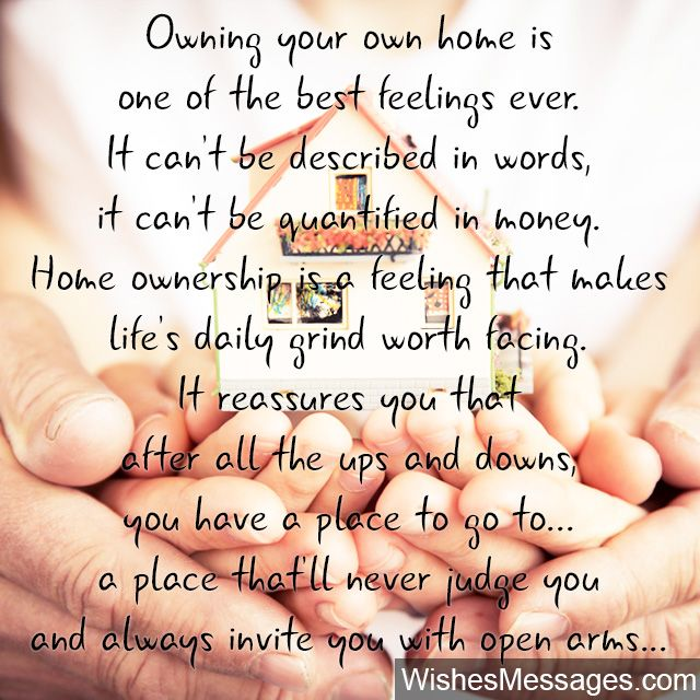 Homeownership quote beautiful message for buying a new