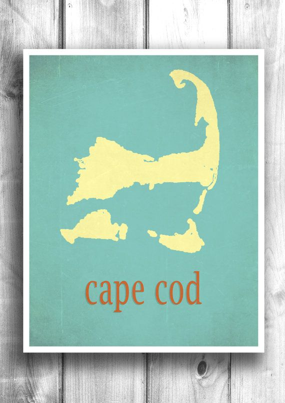 Map Art Cape Cod Print Wall Sign Beach House Vintage by Mapity, $30.00