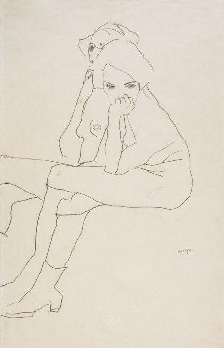 EGON SCHIELE, Tulln 1890 – 1918 Wien, ZWEI SITZENDE, 1911, Bleistift auf Papier, 559 x 371 mm