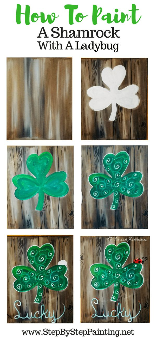 Beginners will learn how to paint a shamrock on a dark faux wood background, a ladybug and lucky letters. Step by step canvas painting for beginners.