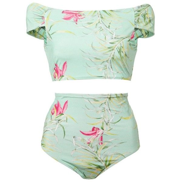Adriana Degreas Tropical Floral Print Retro Bikini ($240) found on Polyvore featuring swimwear, bikinis, bikini, swimsuit, bathing suit, floral bikini, retro swimsuit, high waisted bathing suits, swimsuits two piece and high waisted bikini