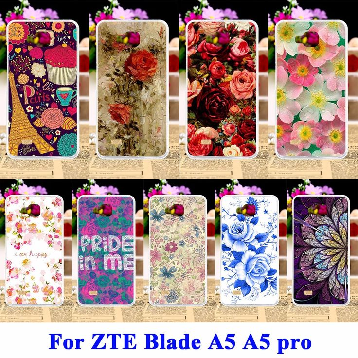 Flexible Covers For ZTE Blade AF3 A3/ZTE Blade A5 A5 pro Case AF 3 C341 T221 Housing Bag Rose Peony Flower Cell Phone Shell Hood