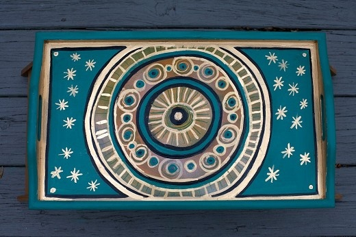 Wooden serving tray, hand painted with golden design. By Varda Artisticolors