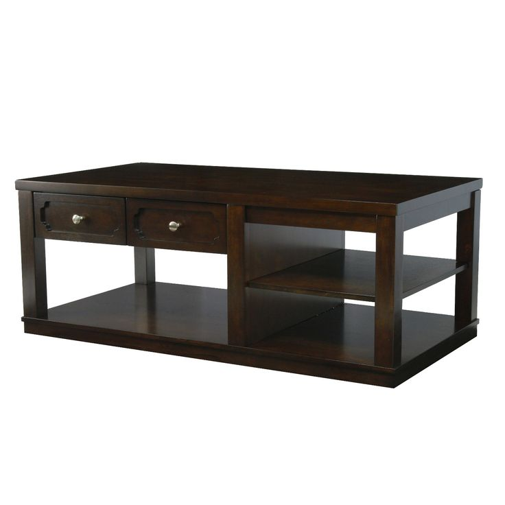 Functionality and style are both readily available with the Furniture of America Rina Transitional Coffee Table. The wide structure offers three open shelves to hold anything from storage baskets to reading materials, and can even double as extra décor space if needed. Two slim drawers side by side hold smaller accessories to keep items out of sight. The warm brown cherry finish ensures this piece pairs easily with any home setting.