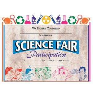 Science Fair Participant - 30 pack  Downloadable templates available to personalize or can be handwritten