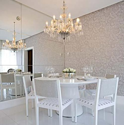 Resinados Mesa de jantar Redonda em Resina Branca  Sala de jantar