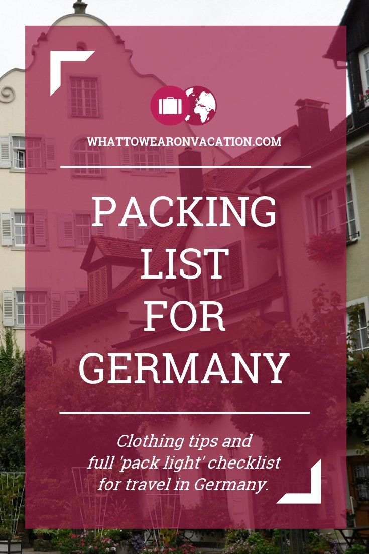 What should you wear in Germany? Our clothing advice tells you what to pack, and our free packing lists tell you exactly how much to pack. Pack right, pack light.