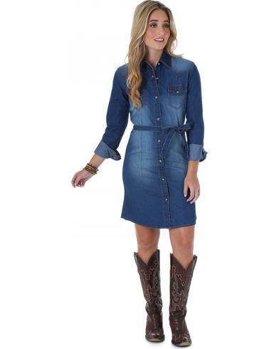 2cf04120c8 Wrangler Long Sleeve Dark Denim Shirt Dress - Country Outfitter
