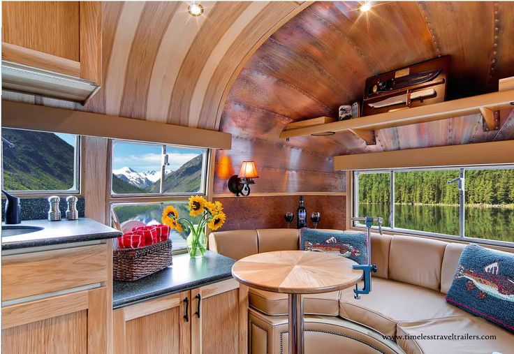 Interior Of The Flying Cloud Airstream Restored For Orvis