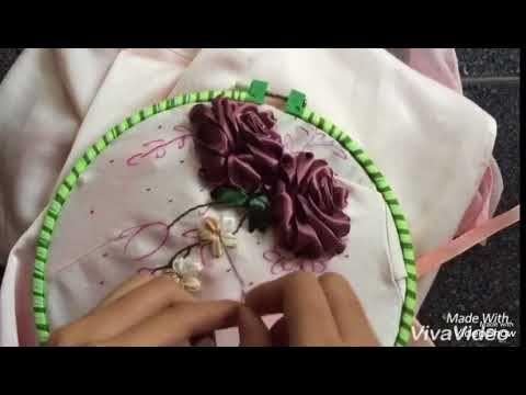 Hướng dẫn thêu ruy băng áo dài áo dài part2 [Ribbon Embroidery] - YouTube